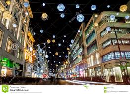 oxford street christmas lights in london editorial photography