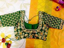 boutique blouses sravya s boutique green color blouse with maggam work all