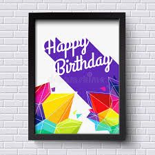 abstract happy birthday card black frame on brick wall vector