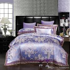 lilac color lace bedding set zipper modal silk duvet comforter