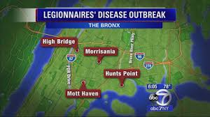 Bronx Map Number Of Legionnaires U0027 Disease Cases In Bronx Outbreak Rises To