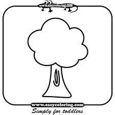 tree three simple trees easy coloring pages for toddlers