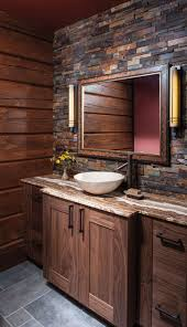 Log Cabin Bathroom Ideas Colors The Backsplash Tiling Of This Bathroom Wall Creates A Whole New