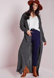 plus size longline button up cardigan grey missguided