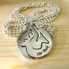 buck and doe couples necklace buck his doe engraved deer from venturingraphics on etsy