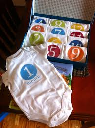 diy monthly onesies baby shower gift stylish spoon