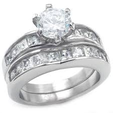 White Gold Cz Wedding Rings by Annabelle U0027s Collection Stainless Steel White Gold Cz Wedding Rings