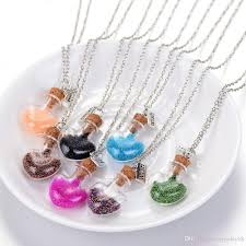 glass bottle necklace pendant images Wholesale wishing bottle necklace candy color diy heart drift jpg