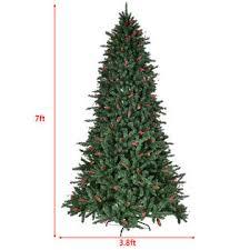 goplus 7ft artificial pvc tree hinged 1918 tips w pine
