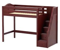 solid wood white twin size loft bed with desk star high stairs