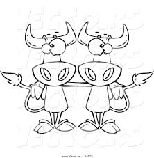 vector of a cartoon cow buddies outlined coloring page by