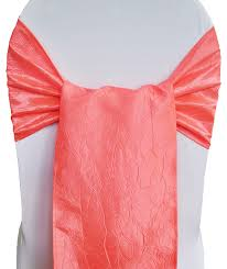 coral crushed crinkle taffeta chair sashes bows