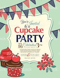 Cherry Cupcake Invitation Card Royalty Cupcake Party Invitation Template In Aqua Vertical Stock Vector