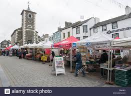 keswick market in the lake district cumbria uk with market stalls