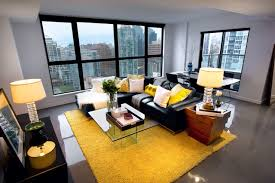 Modern Yellow Rug Yaletown Loft Modern Living Room Vancouver By Treoma Design