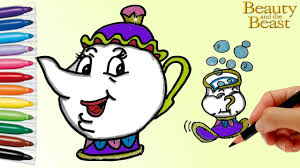 how to draw mrs potts and chip from beauty and the beast coloring