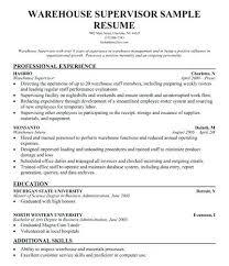 sample resume for warehouse supervisor u2013 topshoppingnetwork com