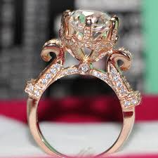 antique rose rings images 2 ct rose gold 18k antique oxhead style durable simulate diamond jpg