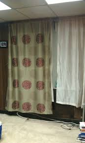 2 tan curtain panels w maroon floral design 2 silk curtains