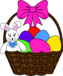 bunny basket eggs easter clipart image easter bunny and easter eggs in an easter
