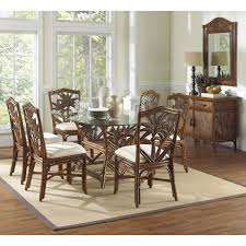 Wicker Dining Chairs Indoor A R T Furniture Intrigue 5 Piece Glass Top Round Dining Set With