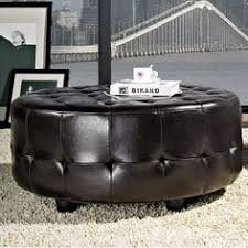 Leather Ottoman Round by Inspired By Bassett Augusta Wood Legs Eco Leather Round Storage