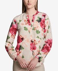 blouse button calvin klein printed split neck button up blouse tops