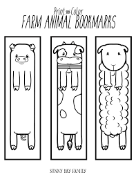 free printable farm animal bookmarks for to color day
