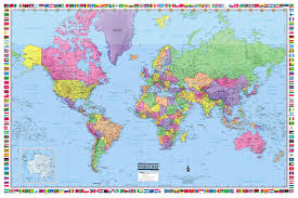 Trinidad World Map by World Map Poster 36x24 Rolled Laminated 2017