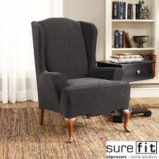 living room natural dark grey wing chair slipcover for
