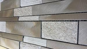 Brushed Aluminum Tile  Textured Gold QuartzTile Kitchen Tile - Aluminum backsplash