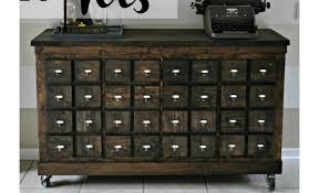 Apothecary Console Table Expedit Into Card Catalog Apothecary Cabinet Ikea Hackers