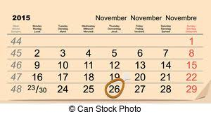 clipart of november 26 calendar with the date of november 26