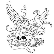 coloring pages tattoos skull with wings and snake coloring page tattoo colorfy app