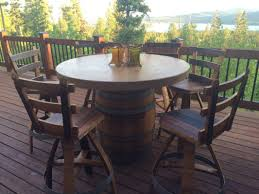 Wine Barrel Patio Table Wildgrain Woodworking Concrete Wine Barrel Pub Set
