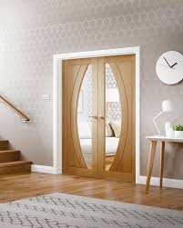 Interior Doors Ireland Salerno Oak Rebated Door Pair With Clear Glass