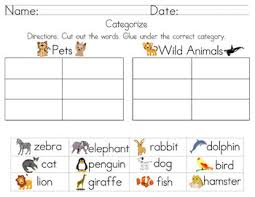 categorize u0026 classify worksheets including cut and paste by