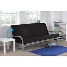 futon metal sofa bed amazon com mainstays metal arm futon with mattress black kitchen