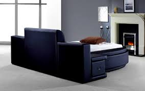 Tv Bed Frame Sale by Bedroom Endearing Owen Black Leatherette Round Bed Storage Cheap