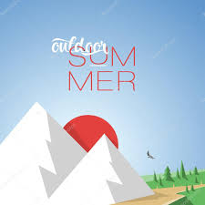 design illustration concepts mountain summer with style typography