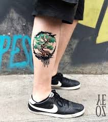 50 amazing calf tattoos tree designs watercolour tattoos and