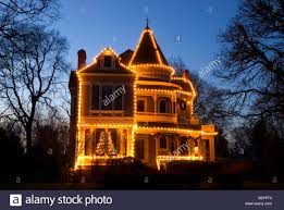 House Christmas Lights by Settlemier House With Christmas Lights Woodburn Oregon Stock