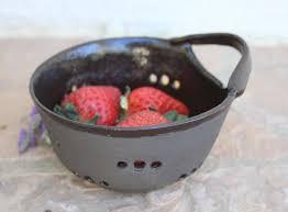 handmade berry bowl ceramic berry bowl black clay small colander