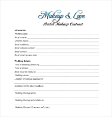 makeup contracts for weddings 22 wedding contract templates free sle exle format