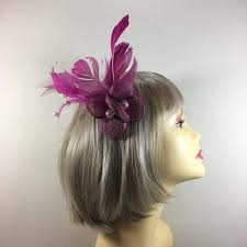 small fascinators for hair small fuchsia fascinator with pink feathers pearls