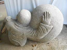 pas japonais en pierre naturelle statue de jardin moine shaolin extérieur zen en pierre naturelle