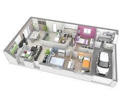 plan maison cuisine ouverte maison plain pied 43800 rosieres logivelay