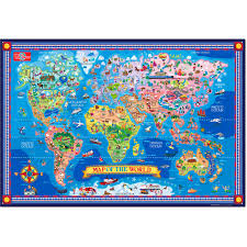 Map Of The World Poster by T S Shure Pictorial Map Of The World Laminated Poster With