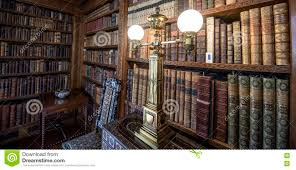 very old library 16th century bookshelves with old fashioned