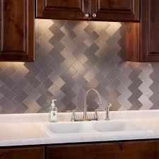 Aluminum Tile Backsplash by Interior Pieces Peel U0026 Stick Aluminum Brushed Backsplash Tiles